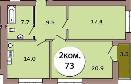 2-комн. кв. по ул. Шахматная 2, секция 1, кв 33 в Калининграде