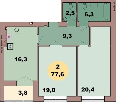 2-комн. кв. по ул. Красная 139В, секция 2, кв 103 в Калининграде