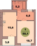 Однокомнатная квартира по ул. Красная 139В, секция 2, кв 104