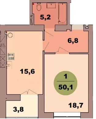 1-комн. кв. по ул. Красная 139В, секция 2, кв 104 в Калининграде