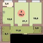 Двухкомнатная квартира по ул. Красная 139В, секция 2, кв 105