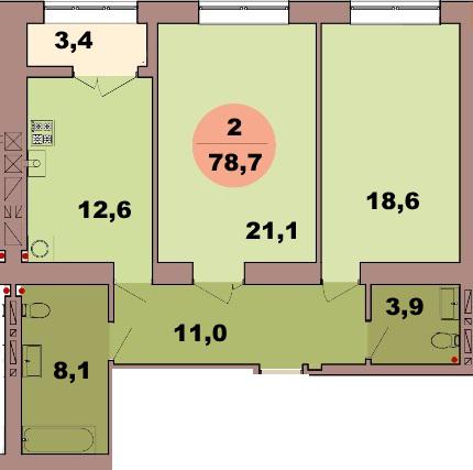 2-комн. кв. по ул. Красная 139В, секция 2, кв 105 в Калининграде