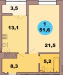 Однокомнатная квартира по ул. Красная 139В, секция 2, кв 107