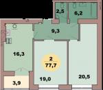 Двухкомнатная квартира по ул. Красная 139В, секция 2, кв 108