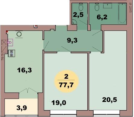 2-комн. кв. по ул. Красная 139В, секция 2, кв 108 в Калининграде