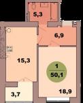 Однокомнатная квартира по ул. Красная 139В, секция 2, кв 109