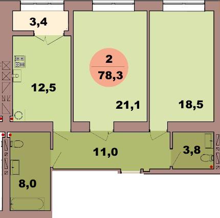 2-комн. кв. по ул. Красная 139В, секция 2, кв 110 в Калининграде