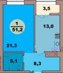 Однокомнатная квартира по ул. Красная 139В, секция 2, кв 111