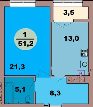 1-комн. кв. по ул. Красная 139В, секция 2, кв 111