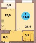 Однокомнатная квартира по ул. Красная 139В, секция 2, кв 112