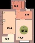 Однокомнатная квартира по ул. Красная 139В, секция 2, кв 114