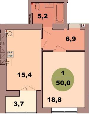 1-комн. кв. по ул. Красная 139В, секция 2, кв 114 в Калининграде
