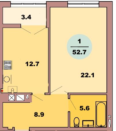 1-комн. кв. по ул. Красная 139Б, секция 2, кв 117 в Калининграде