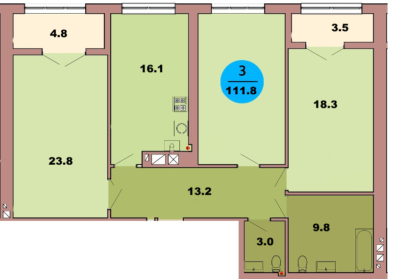 3-комн. кв. по ул. Красная 139Б, секция 3, кв 131 в Калининграде