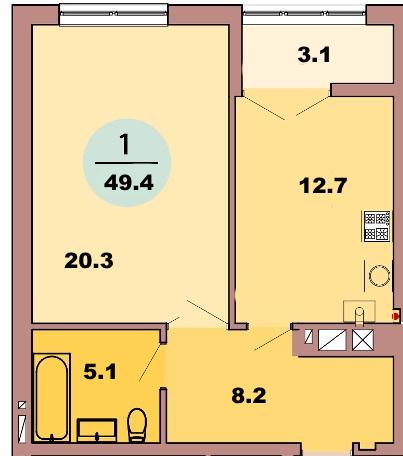 1-комн. кв. по ул. Красная 139Б, секция 3, кв 134 в Калининграде