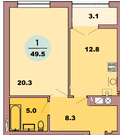 1-комн. кв. по ул. Красная 139Б, секция 3, кв 139