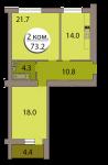 Двухкомнатная квартира по ул. Горького дом 168, секция 7, кв 268