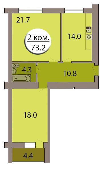 2-комн. кв. по ул. Горького дом 168, секция 7, кв 268 в Калининграде