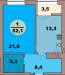 Однокомнатная квартира по ул. Красная 139В, секция 3, кв 174