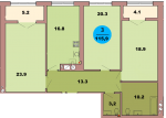 Трехкомнатная квартира по ул. Красная 139В, секция 3, кв 176