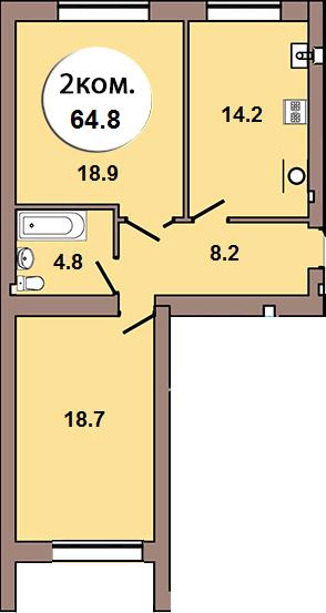 2-комнатная квартира по ул. Шахматная 2Б, секция 2, кв 54