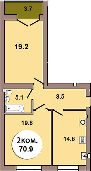 2-комнатная квартира по ул. Шахматная 2Б, секция 2, кв 90