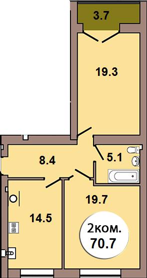 2-комнатная квартира по ул. Шахматная 2Б, секция 3, кв 123