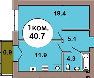 1-комн. кв.  по ул. Шахматная 2Б, секция 4, кв 149 в Калининграде