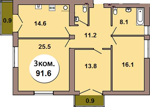 3-комн. кв.  по ул. Шахматная 2Б, секция 4, кв 150 в Калининграде