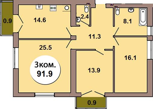 3-комнатная квартира  по ул. Шахматная 2Б, секция 4, кв 155