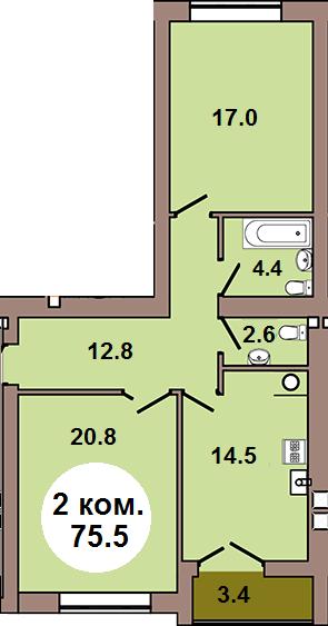 2-комнатная квартира  по ул. Шахматная 2Б, секция 4, кв 171