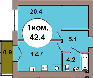 1-комн. кв.  по ул. Шахматная 2Б, секция 4, кв 174 в Калининграде