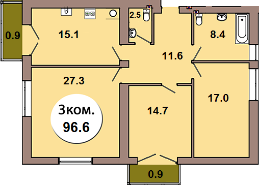 3-комн. кв.  по ул. Шахматная 2Б, секция 4, кв 175 в Калининграде