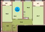 Трехкомнатная квартира по ул. Красная 139В, секция 4, кв 208