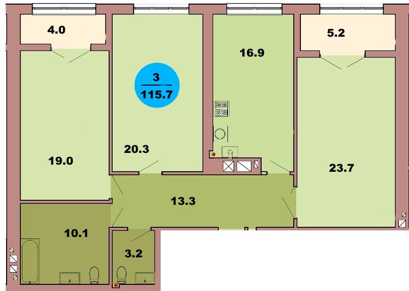 3-комн. кв. по ул. Красная 139В, секция 4, кв 213 в Калининграде