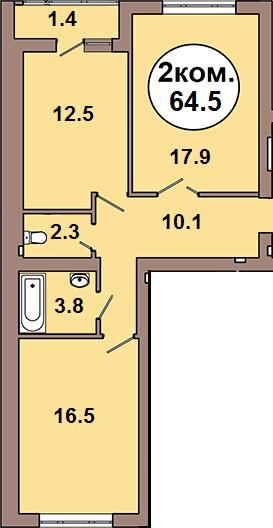 Двухкомнатная квартира по ул. Шахматная 2A, секция 1, кв 21