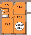 Двухкомнатная квартира по ул. Шахматная 2A, секция 1, кв 4