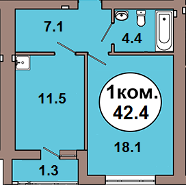 1-комн. кв. по ул. Шахматная 2A, секция 1, кв 54 в Калининграде