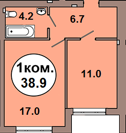 1-комн. кв. по ул. Шахматная 2A, секция 1, кв 6 в Калининграде