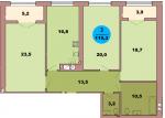 Трехкомнатная квартира по ул. Красная 139Б, секция 1, кв 48