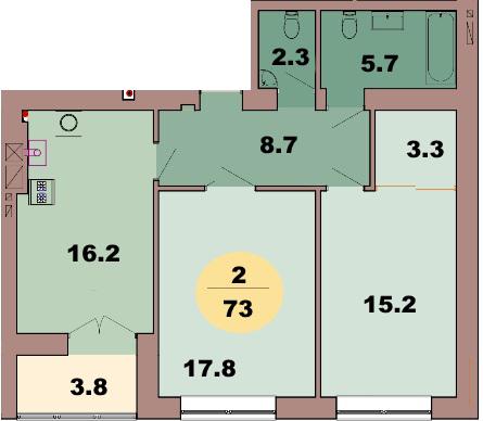 2-комн. кв. по ул. Красная 139В, секция 2, кв 63 в Калининграде