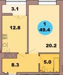 Однокомнатная квартира по ул. Красная 139В, секция 2, кв 82