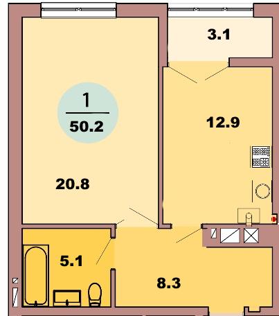 1-комн. кв. по ул. Красная 139Б, секция 2, кв 86 в Калининграде