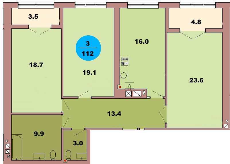 3-комнатная квартира по ул. Красная 139Б, секция 2, кв 90