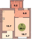 Однокомнатная квартира по ул. Красная 139В, секция 2, кв 94
