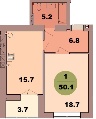 1-комнатная квартира по ул. Красная 139В, секция 2, кв 94