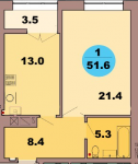 Однокомнатная квартира по ул. Красная 139В, секция 2, кв 97
