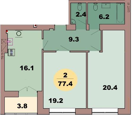 2-комн. кв. по ул. Красная 139В, секция 2, кв 98 в Калининграде
