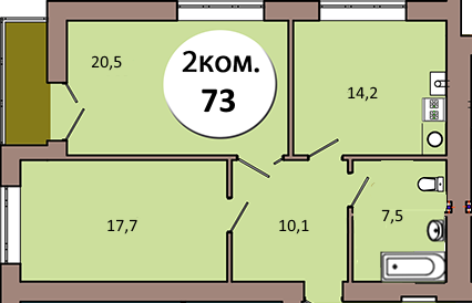 2-комн. кв. по ул. Шахматная 2Б кв.33 в Калининграде