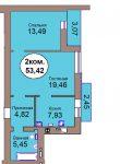 Двухкомнатная квартира Микрорайон Васильково Дом 2 по генплану, секция 2, кв. 102